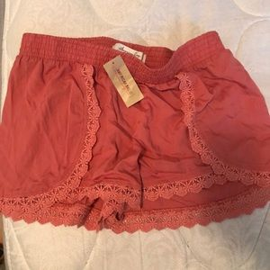 Lace coral shorts